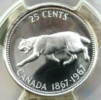 PCGS CERTIFIED PL66 CANADA 1967 25 CENT SILVER UNCIRCULATED GRADED COIN