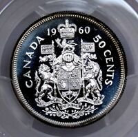 PCGS CERTIFIED PL65CAM CANADA 1960 50 CENT OUTSTANDING UNCIRCULATED SILVER COIN