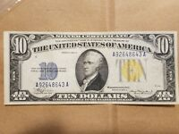 1934 A NORTH AFRICA $10 SILVER CERTIFICATE WWII RELIC FR 2309 EXTRA FINE EF XF