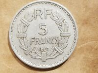 1947 FRANCE 5 FRANCS FRENCH ALUMINUM FRANC COIN NICE