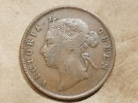 1901 STRAITS SETTLEMENTS 1 CENT BRITISH COLONIAL MALAYSIA PENNY MALAYA COIN