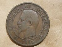 1855 D FRANCE 10 CENTIMES FRENCH DIX COPPER 1/10 FRANC COIN