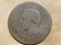 1855 K FRANCE 10 CENTIMES FRENCH DIX COPPER 1/10 FRANC COIN