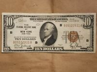 1929 $10 FEDERAL RESERVE BANK NOTE NEW YORK FRBN NATIONAL FR 1860 B EXTRA FINE