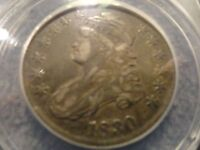 1830 CAPPED BUST HALF DOLLAR SILVER 50 CENTS ANACS EF 40 O101 OVERTON O 101 XF