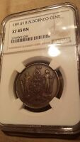 1891 H BRITISH NORTH BORNEO 1 CENT PENNY MALAYSIA COIN NGC XF45 EXTRA FINE EF