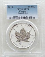 2013 CANADA MAPLE SNAKE PRIVY $5 DOLLAR SILVER REVERSE PROOF