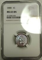 NGC MS 65 BN 1888 INDIAN HEAD CENT  BEAUTIFULLY TONED GEM SP