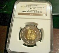 2012 CANADA NGC MS 66 $2   WAR OF 1812   HMS SHANNON   TOONI