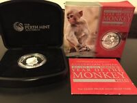 2016 AUSSIE YEAR OF THE MONKEY HIGH RELIEF SILVER PROOF COIN