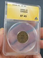 1936  CANADA 1 COPPER CENT COIN ANACS EF45