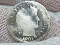 1901 S SILVER BARBER DIME  RARE BUT UGLY COIN