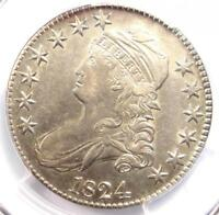 1824 CAPPED BUST HALF DOLLAR 50C O-104 - CERTIFIED PCGS AU DETAILS -  COIN