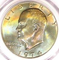 1974-D EISENHOWER IKE DOLLAR $1. PCGS MINT STATE 66 PQ PLUS GRADE RAINBOW - NEAR MINT STATE 67