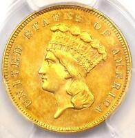 1859 THREE DOLLAR INDIAN GOLD COIN $3 - PCGS UNCIRCULATED UNC MS -  DATE