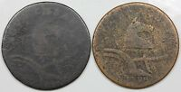 PAIR OF NEW JERSEY COPPERS 1787 & 1788 LOWER GRADES
