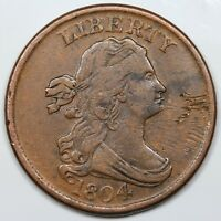 1804 DRAPED BUST HALF CENT SPIKED CHIN VF XF DETAIL