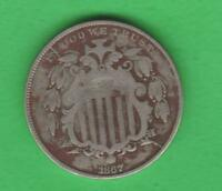 1867 SHIELD NICKEL-2 DIE BREAKS-THROUGH THE N AND OUT THE ARROW