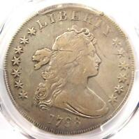 1798 DRAPED BUST SILVER DOLLAR $1 COIN - CERTIFIED PCGS F15 - $2,000 VALUE