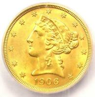 1906-D LIBERTY GOLD HALF EAGLE $5 COIN - CERTIFIED ICG MINT STATE 65 - $2,380 VALUE