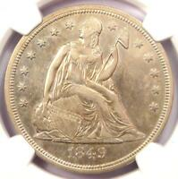 1849 SEATED LIBERTY SILVER DOLLAR $1 - NGC AU DETAILS -  EARLY DATE COIN