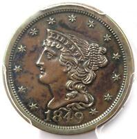 1849 BRAIDED HAIR HALF CENT 1/2C - PCGS UNCIRCULATED DETAILS BU MS UNC