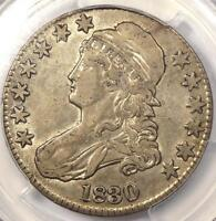 1830 CAPPED BUST HALF DOLLAR 50C, LARGE 0 - PCGS EXTRA FINE 45 EF45 PQ -  COIN