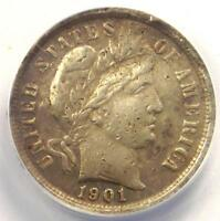 1901-S BARBER DIME 10C COIN - CERTIFIED ANACS EXTRA FINE 40 DETAILS EF40 -  DATE