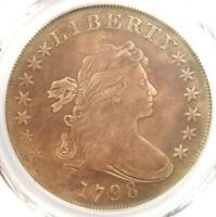 1798 DRAPED BUST SILVER DOLLAR $1 - CERTIFIED PCGS VF DETAILS -  COIN