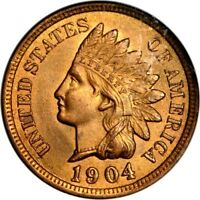 1904 1C INDIAN CENT NGC MINT STATE 64RB PHOTO SEAL
