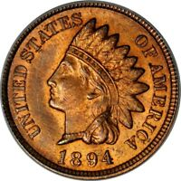 1894 1C INDIAN CENT PCGS MINT STATE 64RB