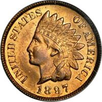 1897 1C INDIAN CENT PCGS MINT STATE 64RB