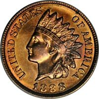 1888 1C INDIAN CENT PCGS MINT STATE 64RB PHOTO SEAL