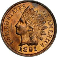 1891 1C SNOW-8 INDIAN CENT PCGS MINT STATE 64RB PHOTO SEAL