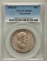 1936-D MINT STATE 65 CINCINNATI CLASSIC COMMEMORATIVE SILVER HALF DOLLAR UNCIRCULATED
