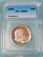 1936 MINT STATE 67  LONG ISLAND ONLY 81,826 MINTED CLASSIC COMMEMORATIVE SILVER HALF