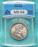 1918 MINT STATE 64 LINCOLN UNCIRCULATED CLASSIC COMMEMORATIVE HALF 100,058 MINTED 2