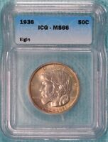 1936 MINT STATE 66 ELGIN ILLINOIS EARLY CLASSIC COMMEMORATIVE SILVER HALF