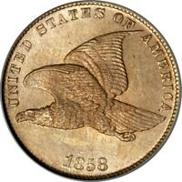 1858 1C SMALL LETTERS FLYING EAGLE CENT PCGS MINT STATE 64 CAC/PHOTO SEAL