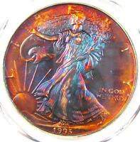 1993 TONED AMERICAN SILVER EAGLE DOLLAR $1 ASE - PCGS MINT STATE 68 - RAINBOW TONING
