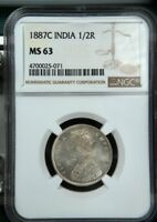 BRITISH INDIA VICTORIA EMPRESS 1887C SILVER 1/2 RUPEE NGC GRADED MINT STATE 63
