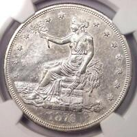 1876-S TRADE SILVER DOLLAR T$1 - NGC UNCIRCULATED DETAILS -  UNC BU MS COIN