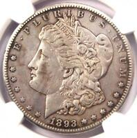 1893-CC MORGAN SILVER DOLLAR $1 - CERTIFIED NGC EXTRA FINE  DETAIL EF -  DATE COIN