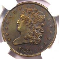 1834 CLASSIC HEAD HALF CENT 1/2C - NGC UNCIRCULATED DETAIL UNC MS -  COIN