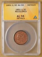 1851 BRAIDED HAIR HALF CENT ANACS AU 55 DETAILS