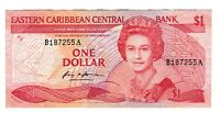 1985 EASTERN CARIBBEAN CENTRAL STATES BANK ONE DOLLAR $1 DOLLAR NOTE P 17A VF