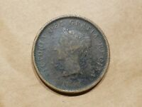 1843 NEW BRUNSWICK CANADA ONE PENNY TOKEN TALL SHIP CANADIAN COIN