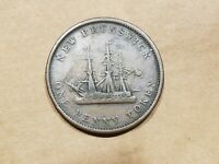 1843 NEW BRUNSWICK CANADA ONE PENNY TOKEN TALL SHIP CANADIAN COIN FINE