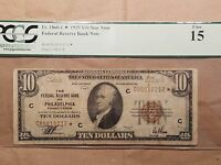 1929 $10 FEDERAL RESERVE BANK STAR NOTE PHILADELPHIA FR. 1860 B  PCGS FINE 15