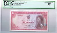 1968 RHODESIA 1 POUND 1 BILL RHODESIAN BANK NOTE PCGS CHOICE ABOUT NEW 58 AU